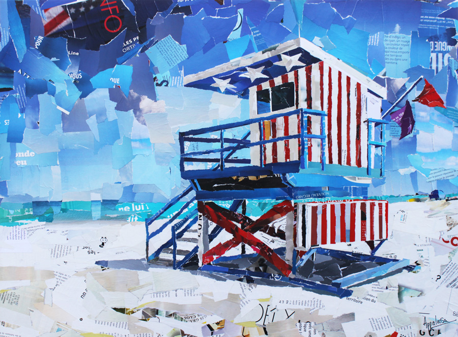 U.S beach - collage par Appaloosa artiste contemporain